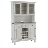 Home Styles Premier Steel Top Buffet Server with 2 Door Hutch in White