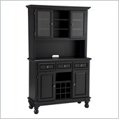 Home Styles Premier Wood Top Buffet Server with 2 door Hutch in Black