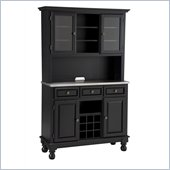 Home Styles Premier Buffet of Buffets Steel Top Buffet Server with 2 Door Hutch in Black