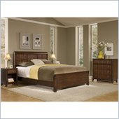Home Styles Paris Queen Headboard, Night Stand & Chest in Mahogany
