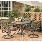 Home Styles Biscayne 5PC 42 Round Outdoor Dining Set in Rust Brown