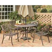 Home Styles Biscayne PC 48 Round Outdoor Dining Set in Rust Brown