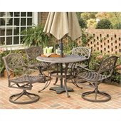 Home Styles Biscayne 5PC 48 Round Outdoor Dining Set in Rust Brown
