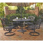 Home Styles Biscayne 5PC 42 Round Outdoor Dining Set in Black Finish