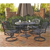 Home Styles Biscayne 5PC 48 Round Outdoor Dining Set in Black Finish