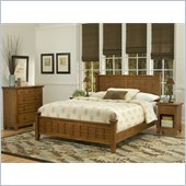 Home Styles Arts & Crafts Headboard Set in Cottage Oak