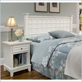 Home Styles Arts & Crafts Headboard & Night Stand in White Finish