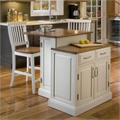 Home Styles Woodbridge Two Tier Kitchen Island and Stools Set in White and Oak