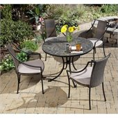 Home Styles Stone Harbor Table & 4 Laguna Chairs in Black and Slate