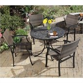 Home Styles Stone Harbor Table & 4 Newport Arm Chairs in Black/Slate