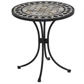 Home Styles Marble Bistro Table in Black & Gray