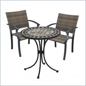 Home Styles Marble Bistro Table & 2 Newport Arm Chairs in Black & Gray