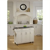 Home Styles Create-a-Cart 49 Inch Stainless Top Kitchen Cart in White
