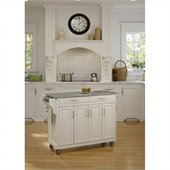 Home Styles Create-a-Cart 49 Inch Salt & Pepper Granite Top Kitchen Cart in White