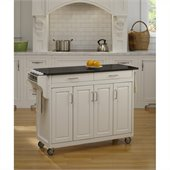 Home Styles Create-a-Cart 49 Inch Black Granite Top Kitchen Cart in White