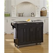 Home Styles Create-a-Cart 49 Inch Stainless Top Kitchen Cart in Black