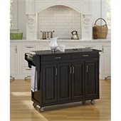 Home Styles Create-a-Cart 49 Inch Black Granite Top Kitchen Cart in Black