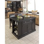 Home Styles Nantucket Kitchen Island in Distressed Black Finish