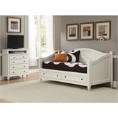 Home Styles Bermuda Wood Daybed and TV Media Chest Set in White