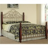 Home Styles St. Ives Bed in Cinnamon Cherry and Aged Gold Metal Finish