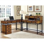 Home Styles Modern Craftsman Corner L Desk and Mobile File  
