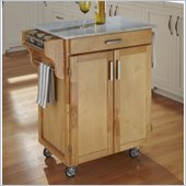 Home Styles Cuisine Cart in Natural Finish with Marble Top
