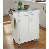 Home Styles Cuisine Cart in White Finish with Marble Top