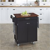 Home Styles Cuisine Cart in Black Finish with Cherry Top