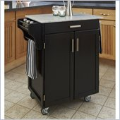 Home Styles Cuisine Cart in Black Finish with Marble Top