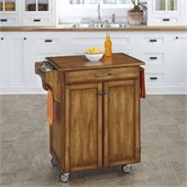 Home Styles Cuisine Cart in Warm Oak Finish with Cherry Top