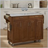 Home Styles Create-a-Cart in Warm Oak Finish with Marble Top