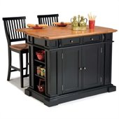 Home Styles Kitchen Island and Stools in Black and Distressed Oak 