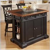Home Styles Deluxe Tradition Island and 2 Bar Stools in Black and Oak