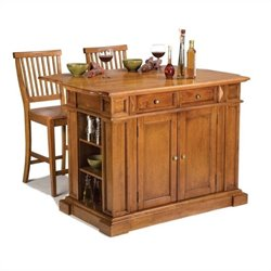 Home Styles Kitchen Island and Stools in Distressed Oak