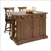 Home Styles Deluxe Island and Two Bar Stools in Cottage Oak Finish