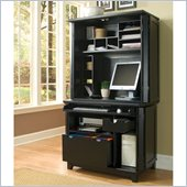 Home Styles Arts and Crafts Compact Desk and Hutch in Black Finish