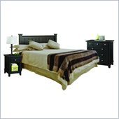 Home Styles Arts and Crafts Black Queen Headboard with Night Stand and Chest