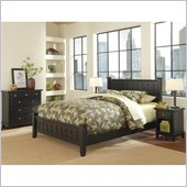 Home Styles Arts and Crafts Black Queen Bed with Night Stand and Chest