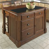 Home Styles Aspen Kitchen Island and Two Stools Set