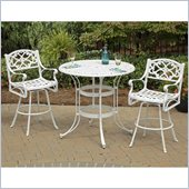 Home Styles Biscayne 3PC White Bistro Set with Green Fabric Cushions