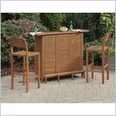 Home Styles Montego Bay 3PC Bar Set includes Bar and Two Stools