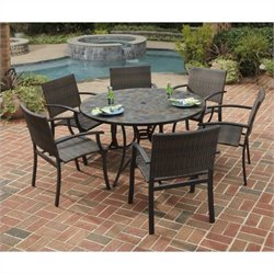 Home Styles Stone Harbor 7 Piece Metal Patio Dining Set in Black