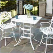 Home Styles Biscayne Rectangular Outdoor Bistro Table in White