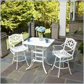 Home Styles Biscayne 3 Piece Outdoor Bistro Set in White