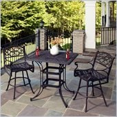 Home Styles Biscayne 3 Piece Outdoor Bistro Set in Black