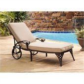 Home Styles Biscayne Outdoor Chaise Lounge Chair in Bronze with Cushion