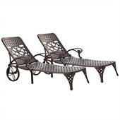 Home Styles Biscayne Outdoor Chaise Lounge Chair in Bronze (Set of 2)