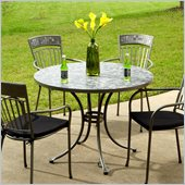 Home Styles Glen Rock Marble Top Round Outdoor Dining Table in Gray