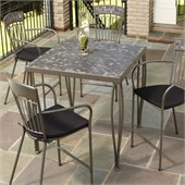 Home Styles Glen Rock Marble Top Square Outdoor Bistro Table in Gray