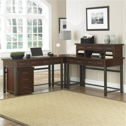 Home Styles Cabin Creek Corner L Desk and Mobile File